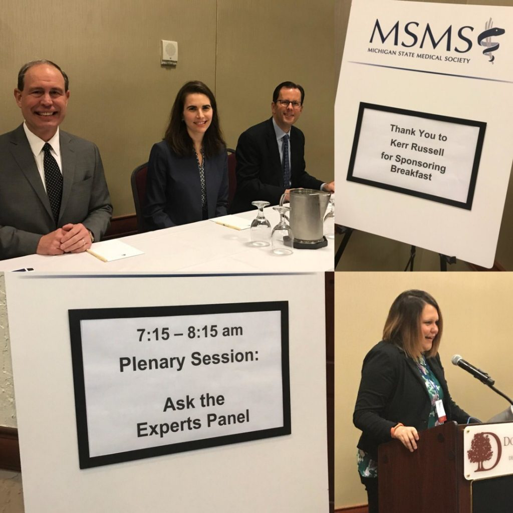 "Daniel Schulte, Patrick Haddad, Katherine Cser conduct ""Ask the Experts"" panel at Michigan State Medical Society's 7th Annual Spring Scientific Meeting"