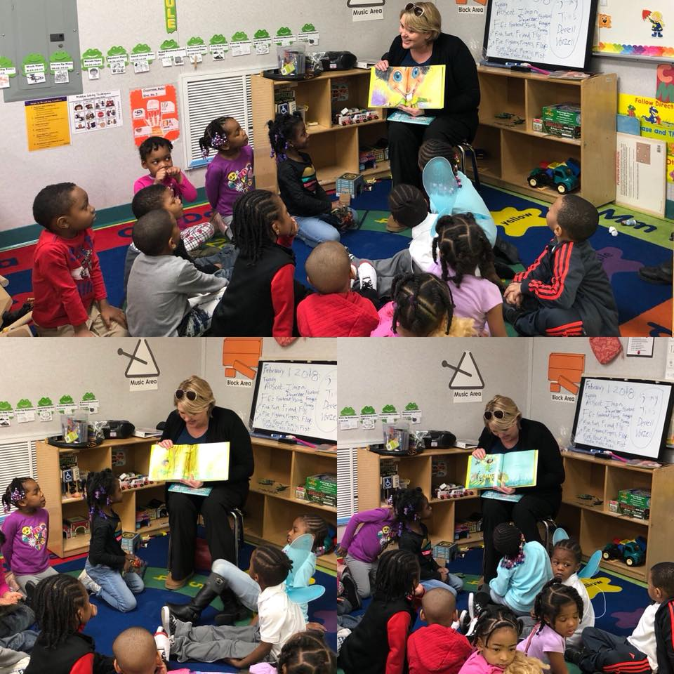Brandy Mathie stops by Matrix Human Services Plymouth Head Start to read to students