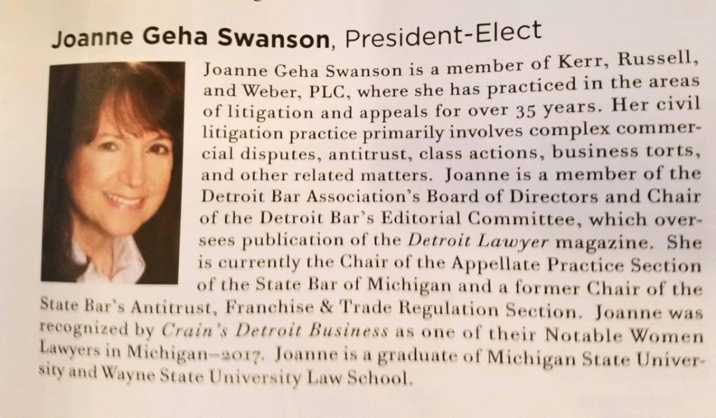 Kudos to Joanna Geha Swanson, president-elect of the Detroit Bar Association
