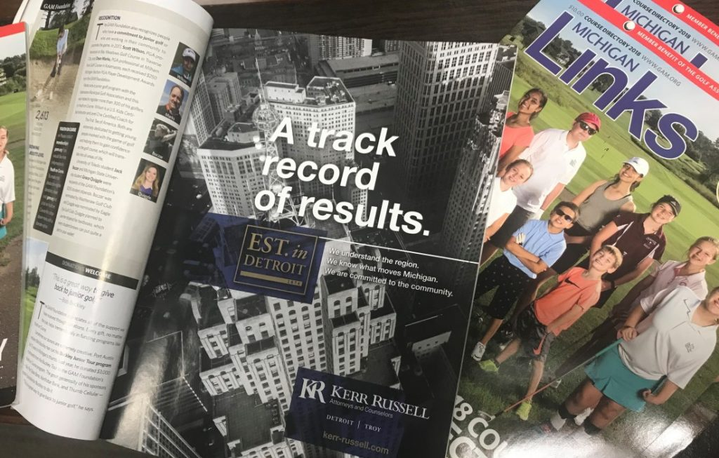 Kerr Russell featured in Hour Media's Michigan Links magazine