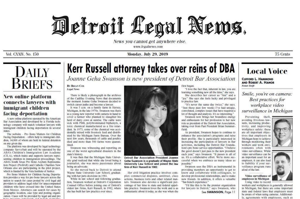 Kerr Russell Attorney Joanne Geha Swanson Interviewed by Legal News