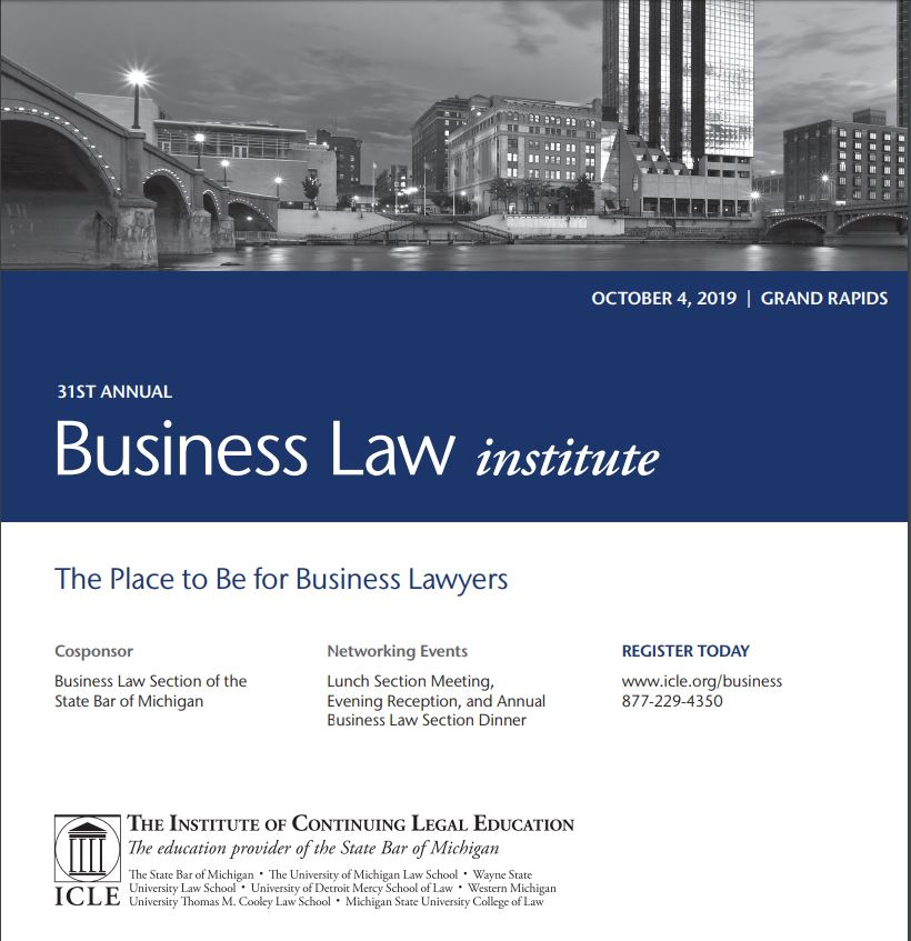 Kerr Russell Attorneys, Eric Lark and Kevin Block, Featured at ICLE/State Bar of Michigan Business Law Institute
