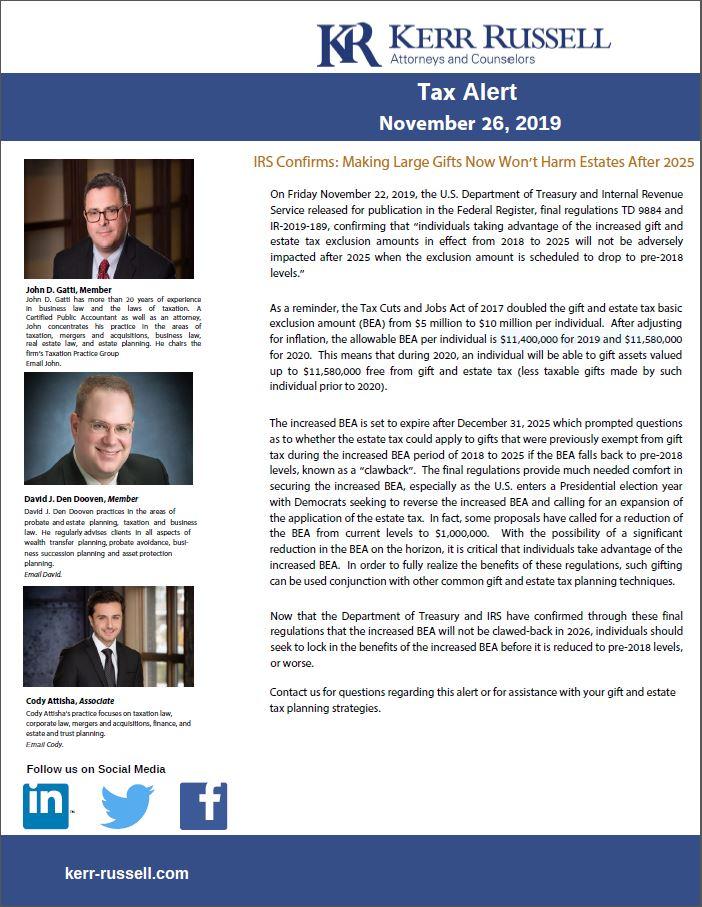 Tax Alert from Kerr Russell - November 26, 2019