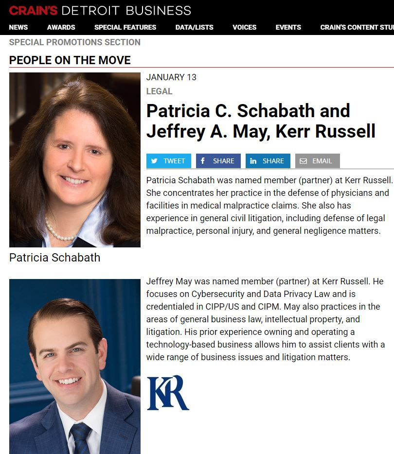 Patricia Schabath, Jeffery May Featured in Crain's Detroit Business